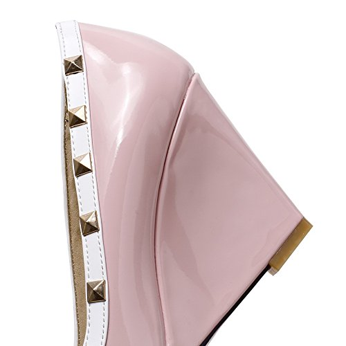 AgooLar Damen Hoher Absatz Gemischte Farbe Ziehen Auf Lackleder Spitz Zehe Pumps Schuhe Pink