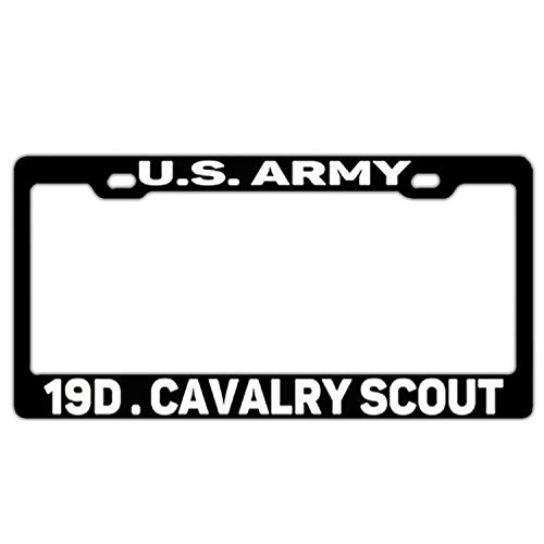 WEERQ U S Army 19d Cavalry Scout Black License Plate Frame Car Tag Frame License Plate Holder 2 and Screws - Tags Plate Frame