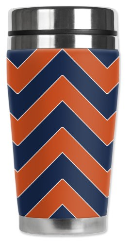 Mugzie Bears Football Colors Chevron Travel Mug with Insulated Wetsuit Cover, Multicolor by Mugzie