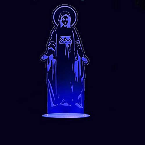 (Lixiaoyuzz 3D Nachtlampe Kreative 3D Jungfrau Maria Modellierung Nachtlicht Usb 7 Farbe Visuelle Änderung Führte Gott Tischlampe Kind Schlafzimmer Schlaf Leuchte Dekor)