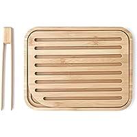 Pebbly NBA055 Set Planche à Pain et Pince à Toast Bambou Beige 26x20x2 cm 2 unité(s)