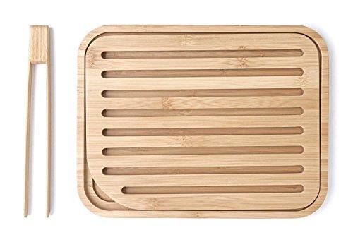 Pebbly NBA055- Juego de Tabla de Pan y Pinza para Tostadas (bambú, 26x 20x 2cm, 2 Unidades), Color Beis