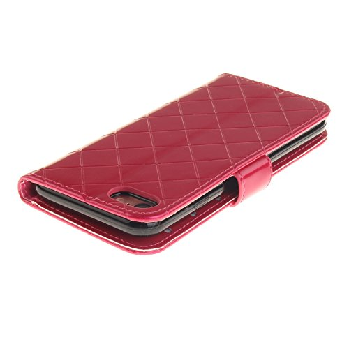 Luxus Premium PU Ledertasche Gitter Stil Metall magnetischen Verschluss Flip Stand Case Case Brieftasche Fall Deckung Solid Color Case für IPhone 7 ( Color : Coffee , Size : IPhone 7 ) Red