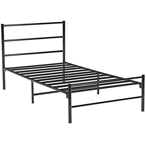 tinxs Modern Black Metal 3ft Single Bed frame with Headboard and Footboard