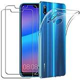 YOOWEI Coque Huawei P20 Lite Transparente+ [2 Pack Verre trempé écran Protecteur], Transparente Silicone en Gel TPU Etui Huawei P20 Lite Coque de Protection Housse Antichoc Cover pour Huawei P20 Lite