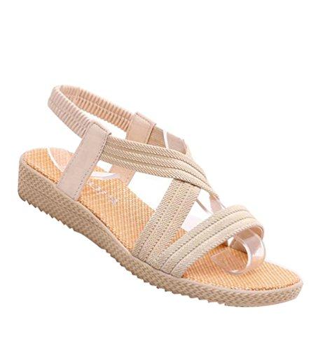 YOUJIA Damen Strand Sandale Casual Böhmen Sommer Peep-Toe Flache Sandalen Schuhe Beige