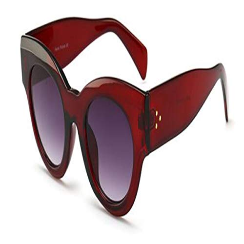 Sport-Sonnenbrillen, Vintage Sonnenbrillen, Thick Frame Cat Eye Sunglasses Ladies Sunglasses NEW Luxury Vintage Black Leopard Sun Glasses Female Circle Glasses Big Frame C4 red gray