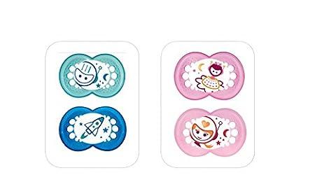 MAM Sucette Nuit - à partir de 18 mois - Silicone - Lot de 2 sucettes en boîte de stérilisation - coloris