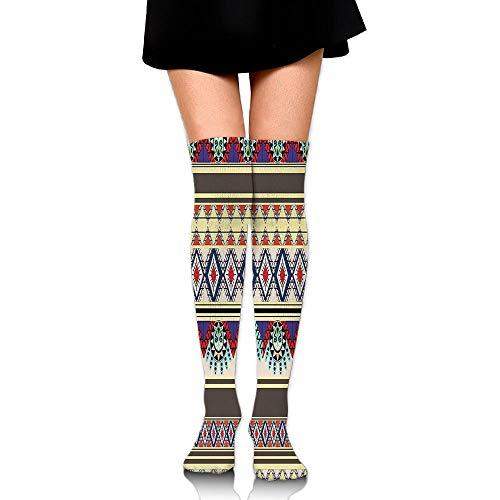 Juzijiang Ethnic Theme Tribal Art Boho Seamless Striped Pattern With Zigzag Print Women's Fashion Over The Knee High Socks (65cm)