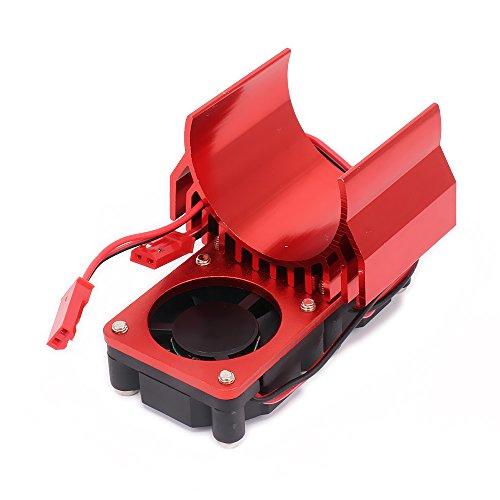RCAWD Kühlkörper-Kühler-Motor N10108 540/545/550 Größe mit 2 Ventilatoren Kühlung Kopf Vent Top JST Alloy Aluminium für 1/10 RC Hobby Model Auto HSP HPI Wltoys Himoto Tamiya 1Pcs(rot)