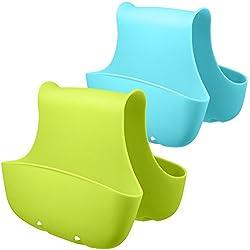 Wady Lot de 2porte savon Porte éponge Panier pour évier de cuisine pour organisation Plastique paniers de rangement (Bleu, Vert)