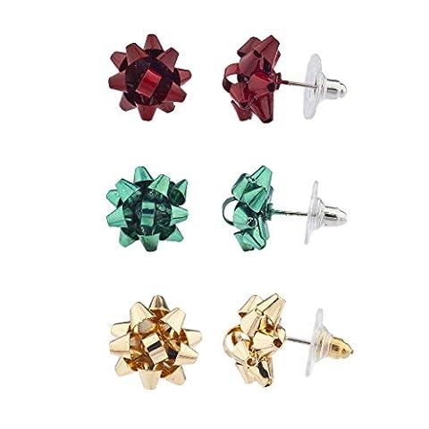 Lux Accessoires vacances de Noël Noël Cadeau Bow Multi Boucles d'oreille (Lot de 3)