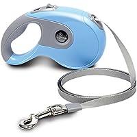 [Gesponsert]EBERS 16 Zoll Hundeleine, qualitative einziehbare Hundeleine für große mittlere kleine Hunde bis zu 88 Pfund, Ein-Knopf-Verriegelung(Blau)