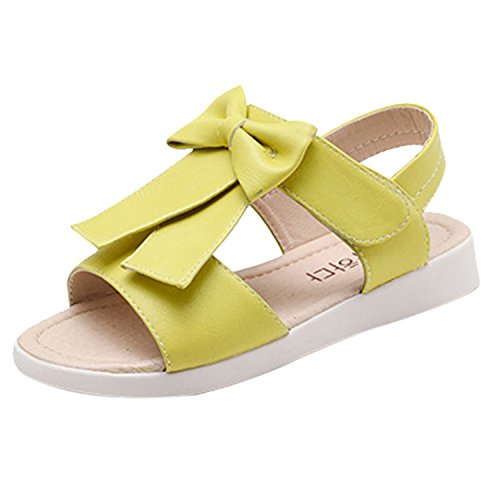 Oasap Girl's Velcro Strap Bow Flat Sandals yellow