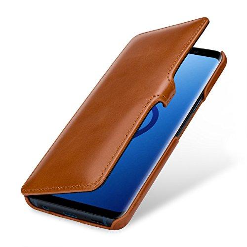 StilGut Leder-Hülle kompatibel mit Galaxy S9 Book Type, Cognac mit Clip