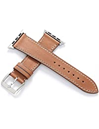 CHIMERA Remplacement en cuir de veau authentique pour bracelet en cuir Apple montre iWatch & Sport & Edition 42mm Série 1 Série 2 Bracelet Boucle classique Super Soft Bracelet de montre (19 options de couleur)