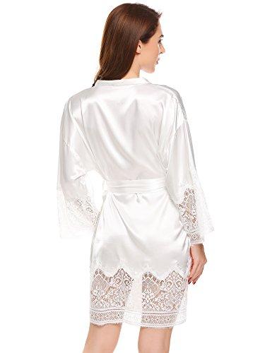 ADOME Damen Kimono Satin Morgenmantel Spitze Saum Seidenrobe Glatt Sehr Weich und Soft Nachtwäsche Gürtel Beige600