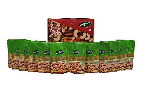 HappiloPremium 100% Natural Californian Almonds, 35g (Pack of 12)
