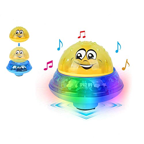 Aokebeey Kinderbad Wasserball Badespielzeug Automatische Induktionsspray Wasserbadspielzeug Kinder Schwimmbecken - Gelb mit Sockel