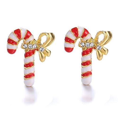 DaoRier 1 Paar Goldenes Weihnachten Krücken Ohrringe Dekoration Anhänger Ohrringen Frauen Schmuck Zubehör (Zubehör Krücke)