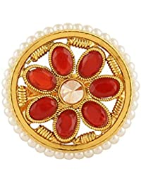 AccessHer Gold Plated Red And White Floral Jaipuri Enamel Finger Ring With Artificial Pearls For Women