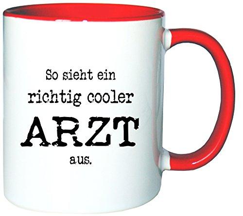 Mister Merchandise Kaffeetasse Becher So sieht ein richtig Cooler Arzt aus. Doktor, Farbe: Weiß-Rot