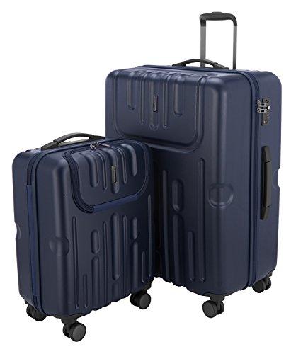 HAUPTSTADTKOFFER - Havel - 2er Koffer-Set (Handgepäck mit Laptop-Fach und Großer Reisekoffer) Trolley-Set Rollkoffer Hartschalenkoffer, TSA, (S & L), Dunkelblau