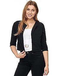 Jillymode Eleganter Damen Blazer PU mit goldenem Zipper kragenlos A1001