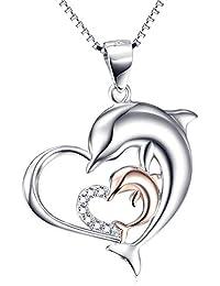 Silver Mountain Femme Argent 925 Oxyde de Zirconium Dauphin Amour Cœur Pendentif Collier