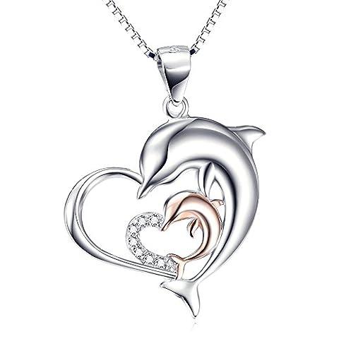 Silver Mountain 925 Sterling Silber Zirkon Mutter Kind Delphin Herz Anhänger Halskette mit Kette 45cm