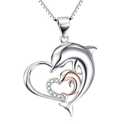 Silver Mountain Plata de ley 925 Circón Delfín Amor Corazón Colgante Collar,45cm