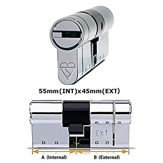 Avocet ABS High Security Euro Cylinder - Anti Snap Lock - Sold Secure Diamond Standard - 3 Star - Chrome 55mm(INT)x45mm(EXT) by Avocet ABS