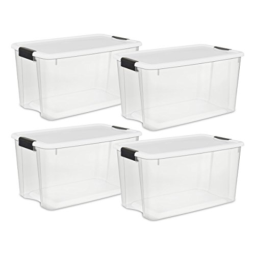 Sterilite Ultra Aufbewahrungsbox mit weißem Deckel, und das schwarz Laschen, 4er Pack, farblos, 70-Quart (Sterilite Aufbewahrungsbox)
