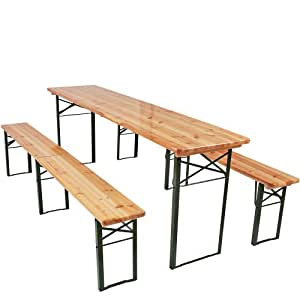 Miadomodo - Ensemble table et bancs pliables - en bois - table : 220 x 50 x 76,5 cm (L x l x H) - bancs : 220 x 25 x 46,5 cm (L x l x H)