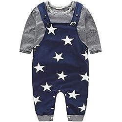 Ropa de Bebe Nino Recien Nacido Impresión de Estrella Blusa Bebe Niña Manga Larga Camisetas Bebé Conjuntos Moda Camisa + Pantalones