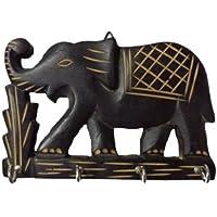 Elefante in legno intagliato a mano Wall Hanging Portachiavi con 4ganci casa cucina decorazione, regalo per Natale o compleanno ai vostri cari by Affaires w-40004