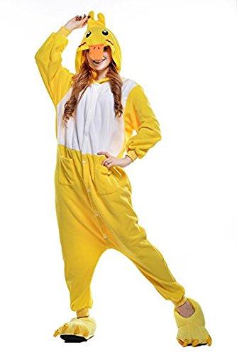Missley Einhorn Pyjamas Kostüm Overall Tier Nachtwäsche Erwachsene Unisex Cosplay (L, Yellow - Familie Duck Kostüm