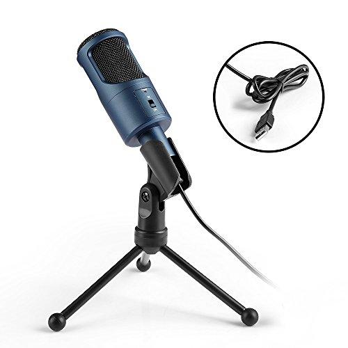 Micrófono Condensador USB, MAD GIGA Micrófono USB Portátil Condensador Profesional con Soporte para PC/Ordenador, Microfono con Estéreo 3D a Windows/Mac para Jugar, YouTube Video, Skype, VOIP. Etc