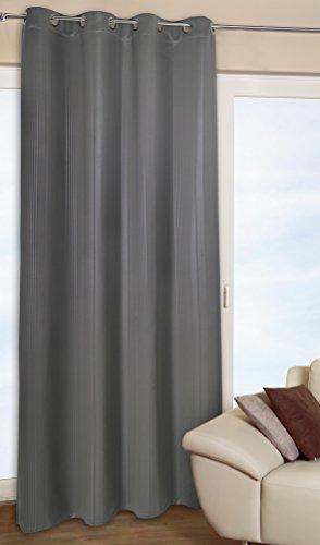 Moderne doux verdunkelungsgardine faisant double rideau thermique-rideaux gris sHADOWS lINE gris avec œillets-effet élégant-deux tailles jusqu'à xXL-au choix 135 cm de large ou 270 cm de large-opaque-super-isolant en hiver et rafraîchi en été sans substances nocives-disponible également en noir, Polyester, gris, 135 cm breit x 245 cm hoch