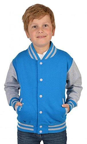 Goodman Design ® Jungen USA Collegejacke - Beale Street 56 - in türkis - Geschenk/Cooles Rockabilly Outfit für Schule oder Freizeit, Kinder Größe:M / 128