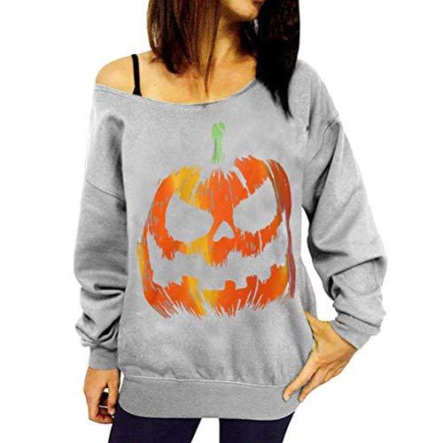 Langarm-Halloween-Kostüm Fun Pumpkin Face Print Pullover Strickpullis (Color : Grau, Size : XL) ()