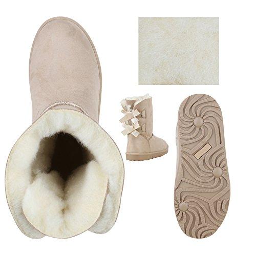 Warm Gefütterte Damen Stiefel Boots Schlupfstiefel Schuhe Creme