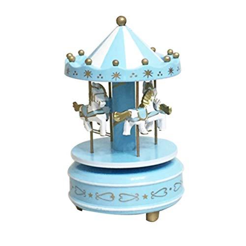ry-Go-Round Carousel Music Box Kids Toys Gift Wind-Up Musical Boxblue ()