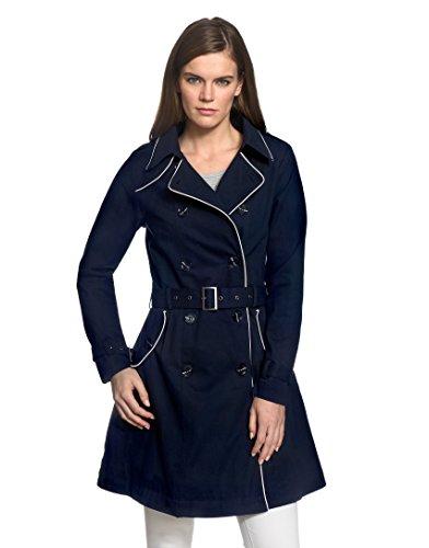 VB Donna Cappotto Trench Con rilegatura in contrasto colore, schede e una spalla orlo svasato Dark Blue Small