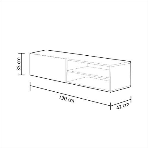 Habitdesign – Mueble comedor televisor bajo, una puerta y un estante color blanco brillo dimensiones 35 x 130 x 42 cm