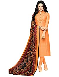 829ad25fc8 Paridhanlok Beautiful Designer Chanderi Cotton Exclusive Salwar Suit Semi  Stitched dress Straight Traditional in Apricot Color
