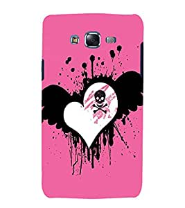 printtech Skull Danger Heart Pattern Back Case Cover for Samsung Galaxy J5 / Samsung Galaxy J5 J500F