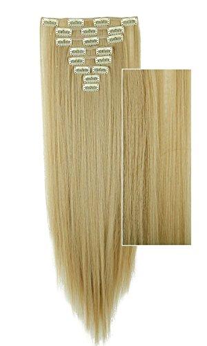 S-noilite® - 8 teilig 58cm Clip-In Extensions Haarteil Haarverlängerung Natürliche Perücke div. Farben (glatt Golden Mix Bleichmittel (Kostüme Besten Disco)