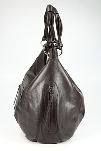 BELLI ital. Nappa Leder Shopper Handtasche Damentasche - Farbauswahl - 35x31(mittig)x17 cm (B x H x T) Dunkelbraun