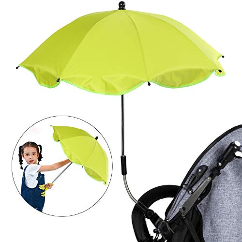 Urijk Ombrelle Anti-UV pour Poussettes de Landau pour Bébé Universelle Main Libre Parasol Solaire Parapluie Étanche pour Chariot Vélo Fauteuil Roulant Pêche(Diamètre 65cm, Pince Plastique)